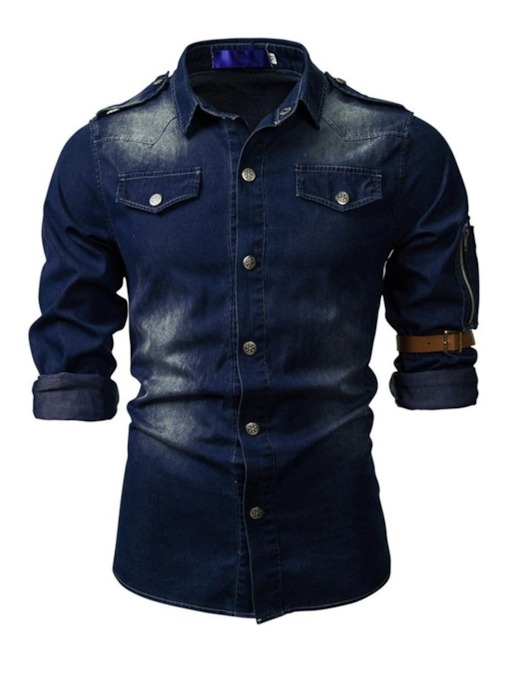 Casual Lapel Button Block Single-Breasted Men's Shirt