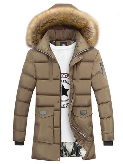 Hooded Color Block Zipper Men's Down Jacket