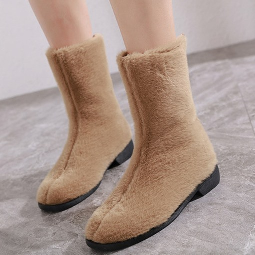 Slip-On Block Heel Round Toe Plain Fluffy Ankle Boots