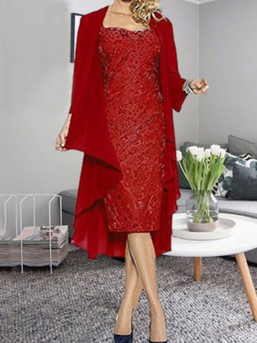 Long Sleeve Lace Mid-Calf High Waist Women's Dress