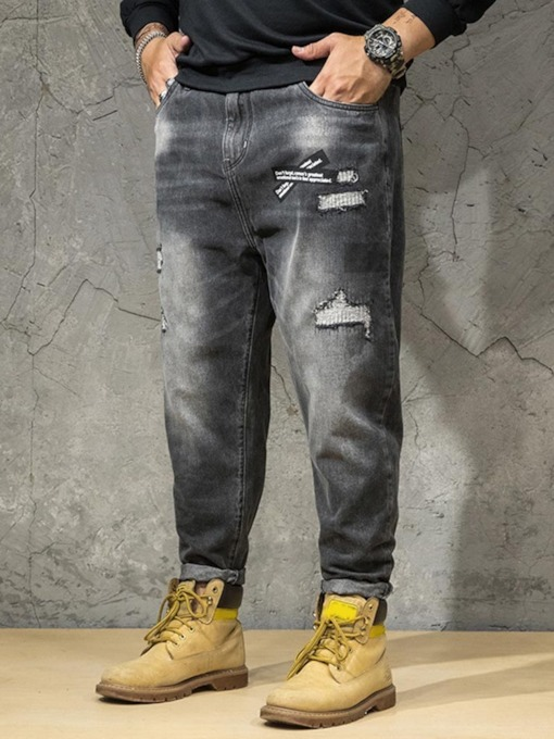 Color Block Pocket Zipper Men's Jeans