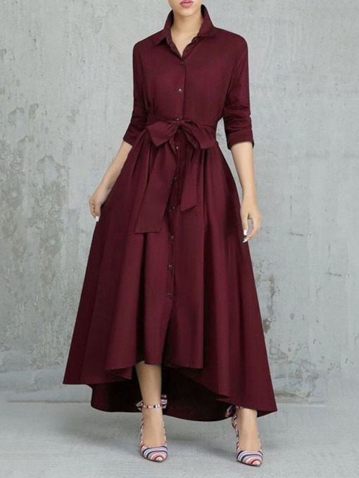 Nine Points Sleeve Asymmetric Ankle-Length Lapel Plain Women's Dress