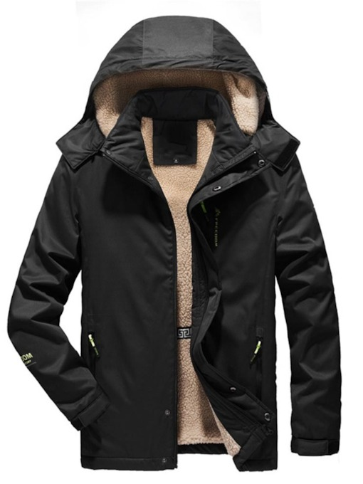 Plain Patchwork Hooded Casual Men's Down Jacket