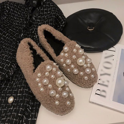 Beads Round Toe Slip-On Winter Flats
