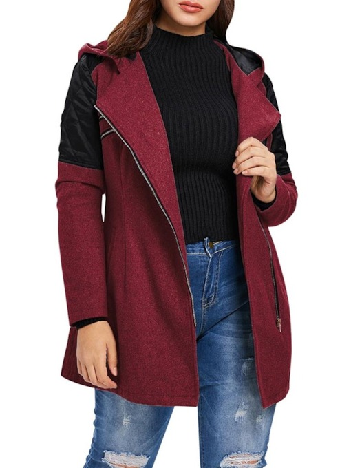 Straight Zipper Zipper Regular Mid-Length Women's Overcoat