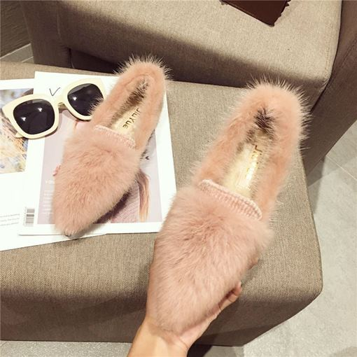 Slip-On Block Heel Pointed Toe Winter Flats