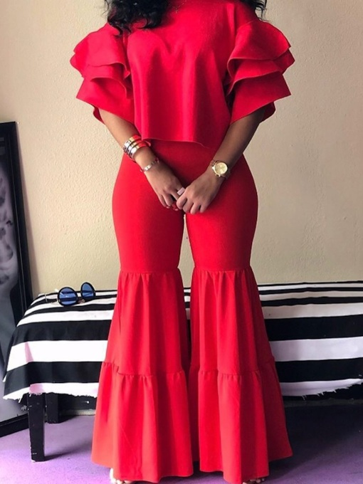 Casual Plain Pants Bellbottoms Women's Two Piece Sets