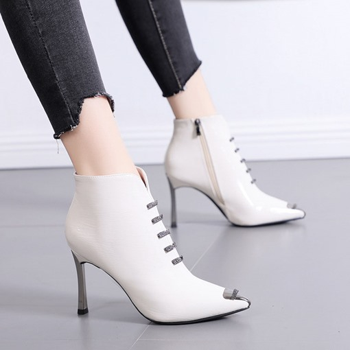 Stiletto Heel Pointed Toe Side Zipper Metal Ankle Boots