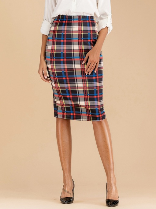 Knee-Length Plaid Bodycon Casual Women's Skirt