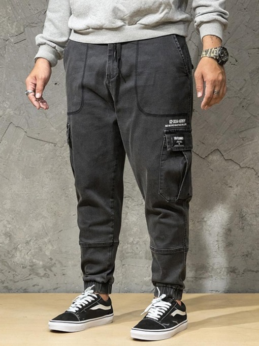 Print Zipper Men's Jeans