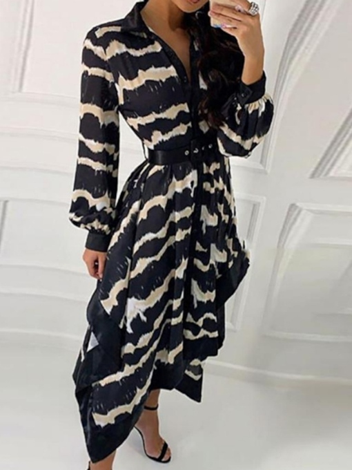 Lapel Print Long Sleeve Mid-Calf Mid Waist Women's Dress