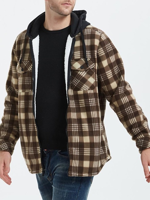 Patchwork Plaid Hooded Zipper Men's Jacket