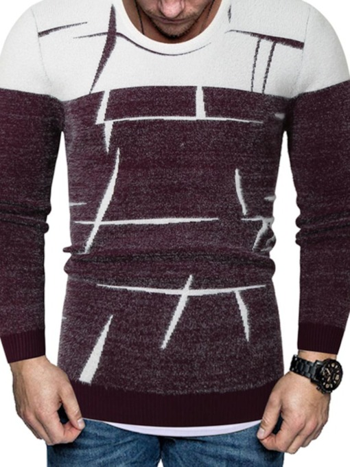 Round Neck Color Block Print Standard Slim Men's Sweater