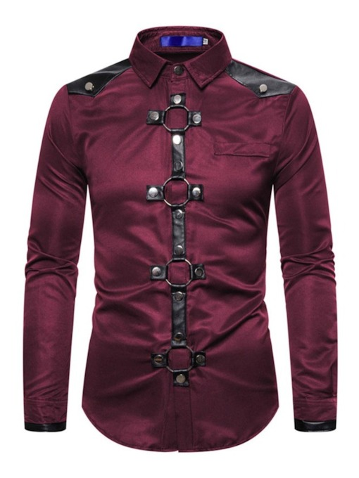 Color Block Button Lapel Single-Breasted Men's Casual Shirt