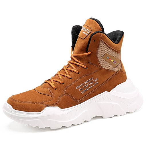 High Top Lace-Up Korean Round Toe Men's Sneakers
