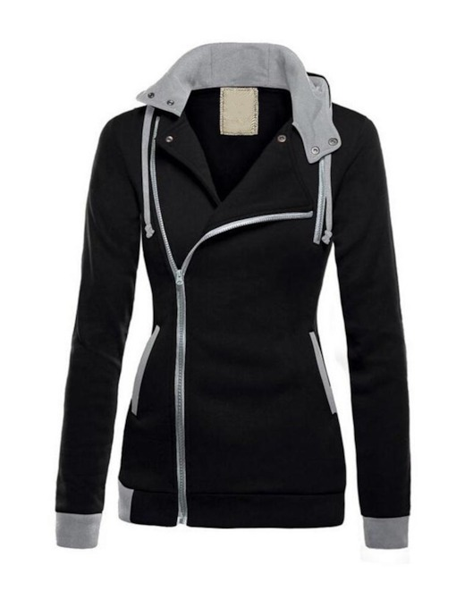 Zipper Color Block Regular Fall Women's Hoodie