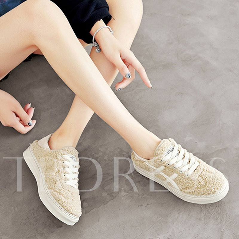 Low-Cut Upper Round Toe Lace-Up Fluffy Winter Sneakers