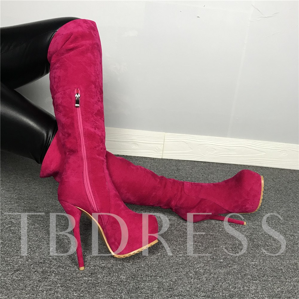 Customized Round Toe Side Zipper Knee High Boots
