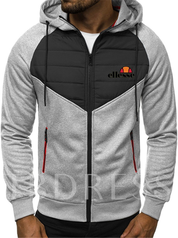 Cardigan Thick Zipper Color Block Men's Hoodies