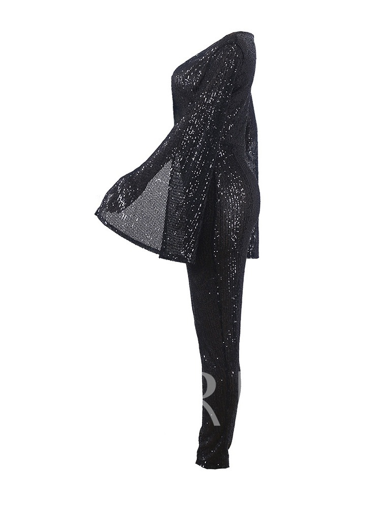 Full Length Sequins Plain Casual Skinny Women's Jumpsuit
