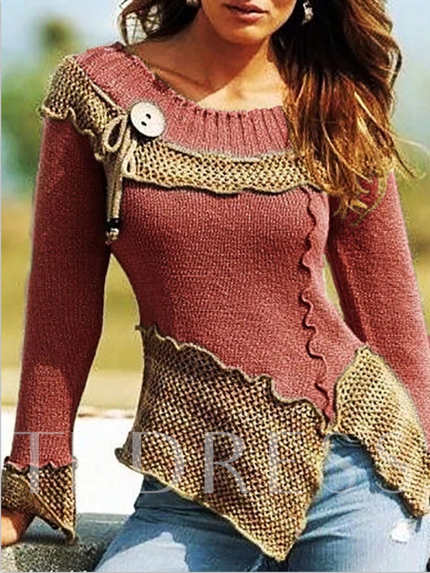 Regular Regular Asymmetric Long Sleeve Women's Sweater