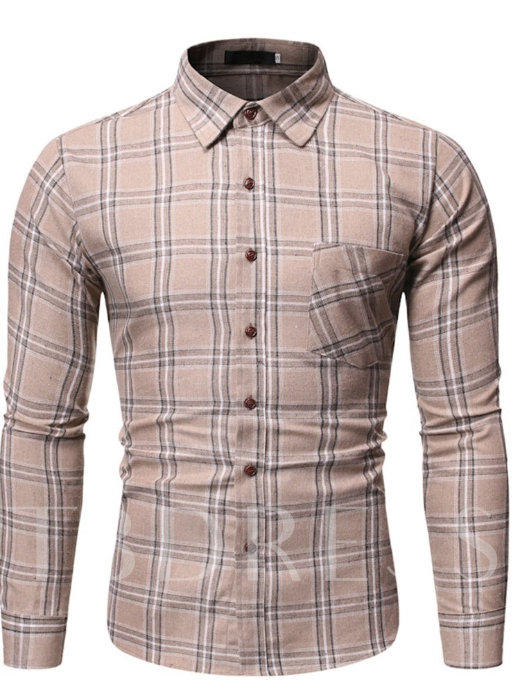 Button Casual Lapel Plaid Single-Breasted Men's Shirt