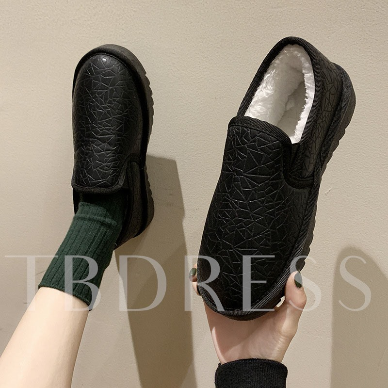 Round Toe Slip-On Low Upper Snow Boots