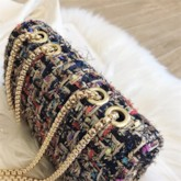 Wool Blends Chain Rectangle Shoulder Bags