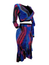 Color Block Sexy Lace-Up V-Neck Women's Two Piece Sets