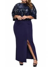 Plus Size Ankle-Length Split Round Neck Three-Quarter Sleeve Batwing Sleeve Women's Dress