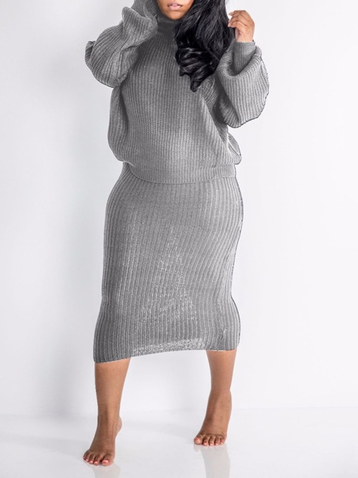 Casual Plain Turtleneck Women's Two Piece Sets