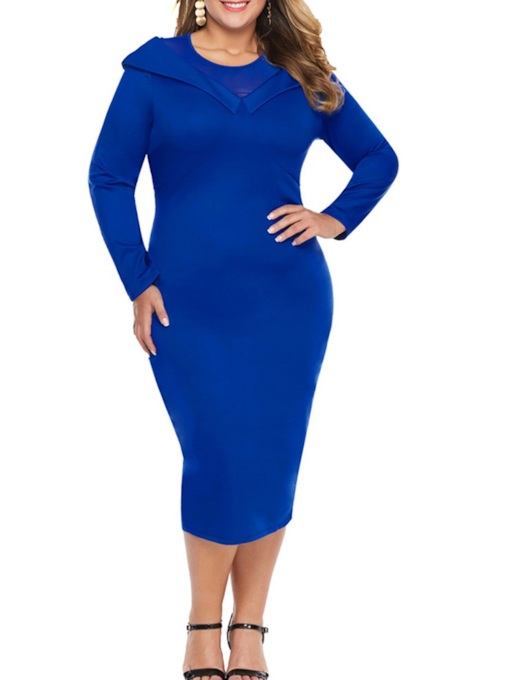 Plus Size Mid-Calf Long Sleeve Round Neck Regular Women's Dress