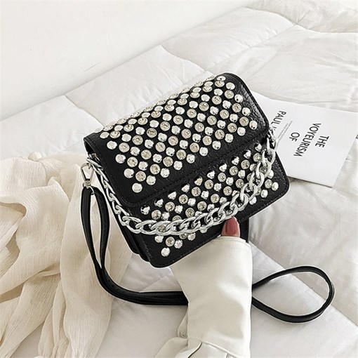 Rivet PU Plain Rectangle Crossbody Bags
