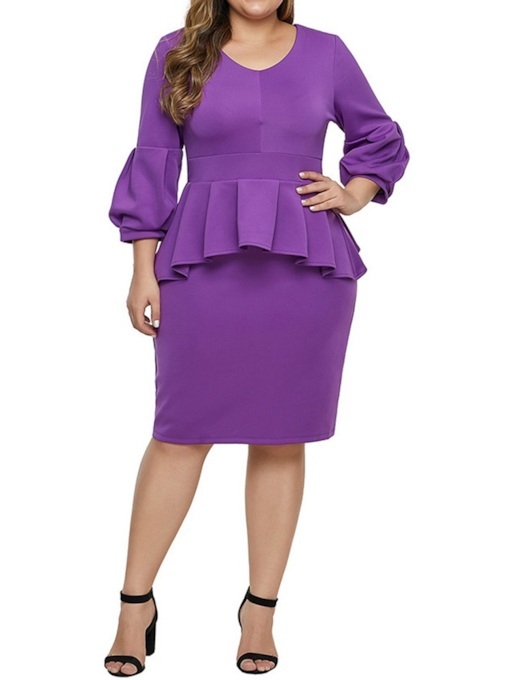 Plus Size Knee-Length Three-Quarter Sleeve Stringy Selvedge V-Neck Pullover Women's Dress