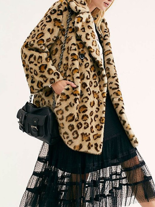 Leopard Notched Lapel Mid-Length Winter Women's Faux Fur Overcoat