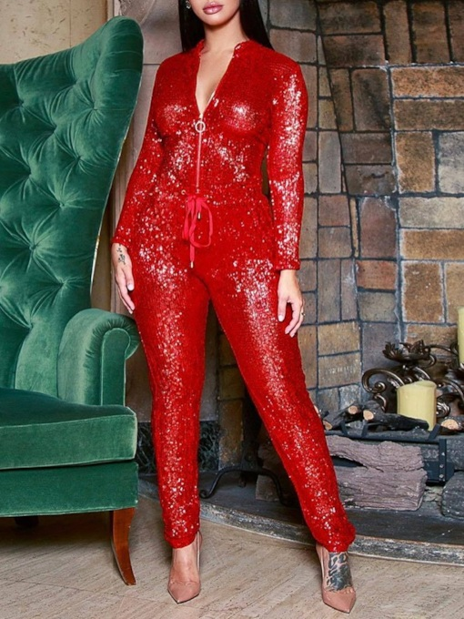 Plain Casual Full Length Sequins Slim Women's Jumpsuit