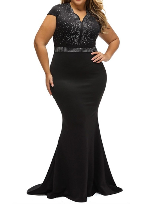 Plus Size Diamond V-Neck Short Sleeve Floor-Length Summer Women's Dress