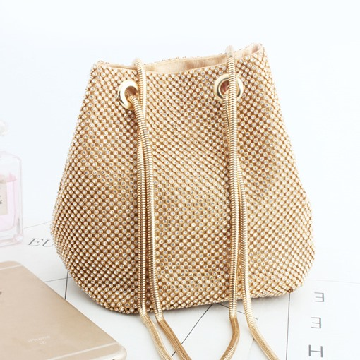 Plain Diamond Satin Barrel-Shaped Shoulder Bags