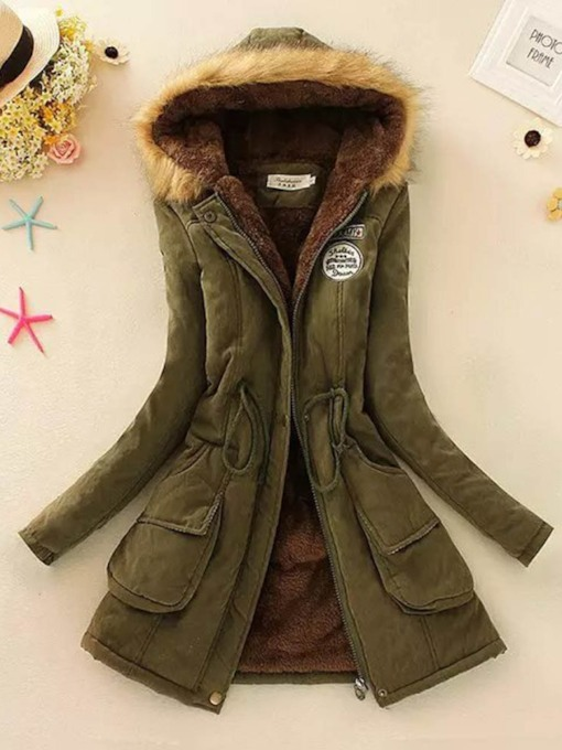 Patchwork Loose Mid-Length Warm Women's Cotton Padded Jacket