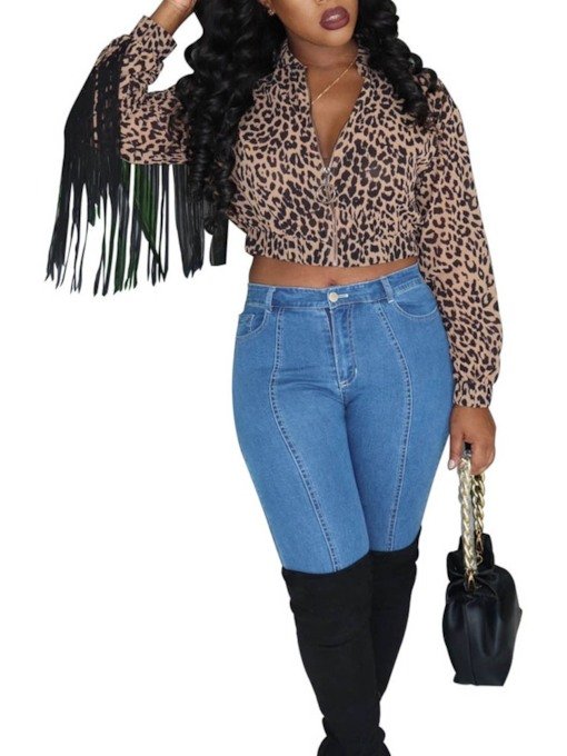 Leopard Long Sleeve Women's Blouse