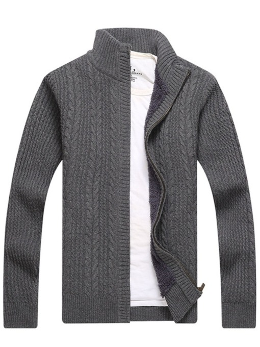 Plain Zipper Stand Collar Casual Men's Sweater