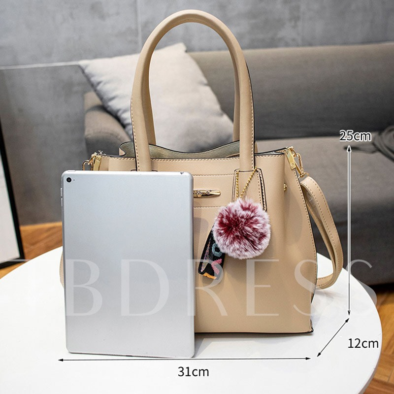 Plain PU Thread Rectangle Three Bags Set Tote Bags