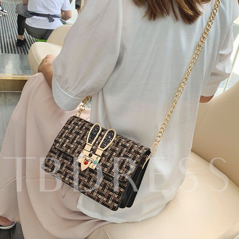 Chain PU Rectangle Winter Crossbody Bags