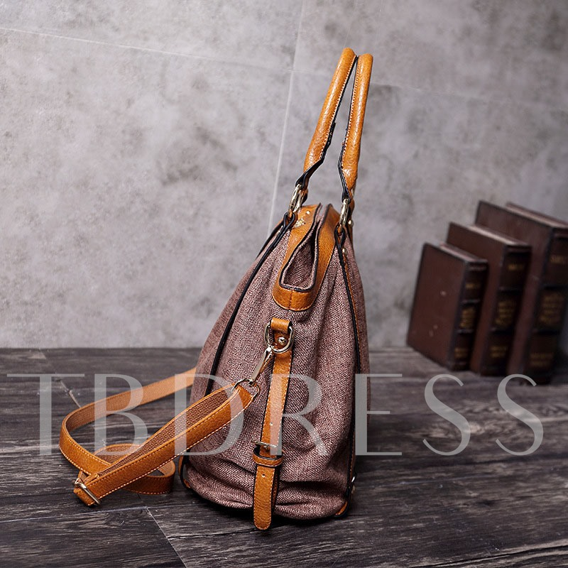 Belt-Decorated Canvas Rectangle Tote Bags