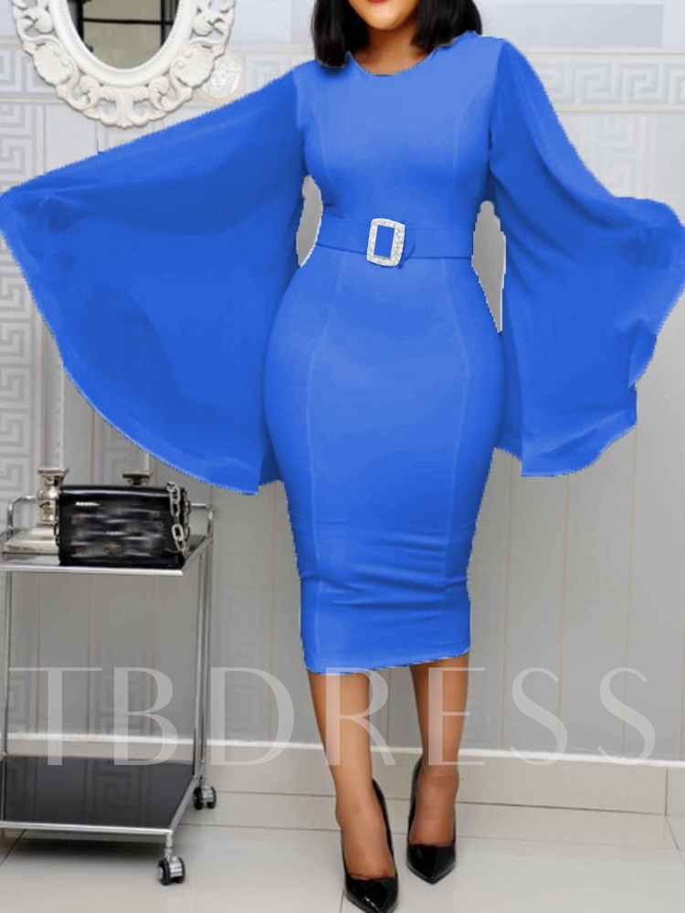 Round Neck Mid-Calf Long Sleeve Belt Summer Women's Dress