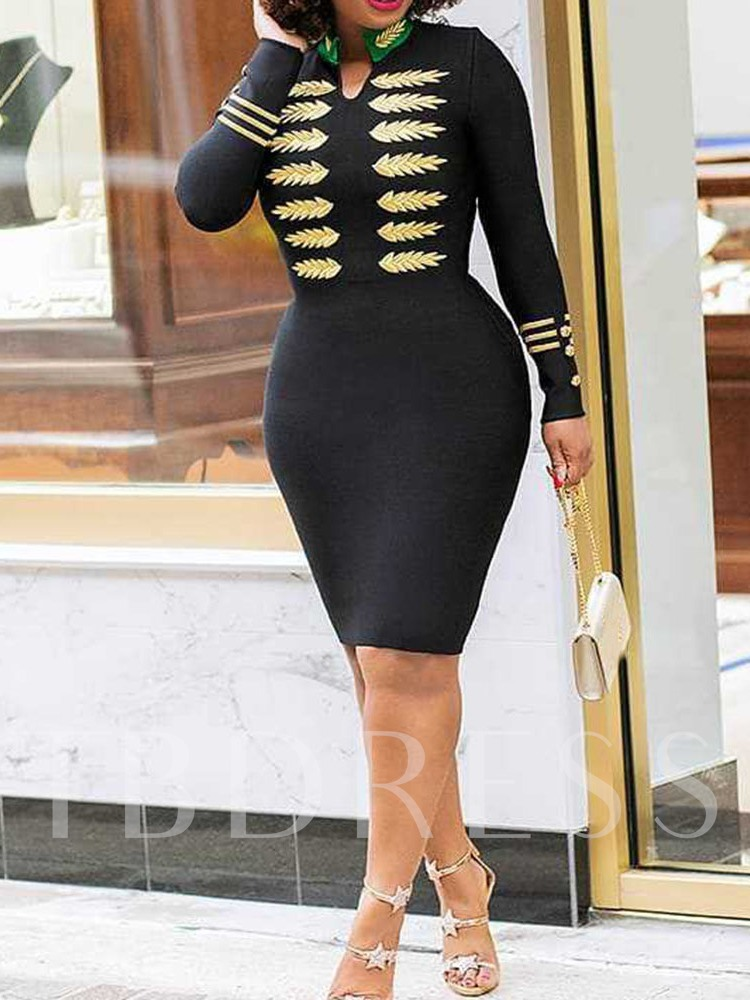 Knee-Length Long Sleeve Stand Collar Embroidery Bodycon Women's Dress