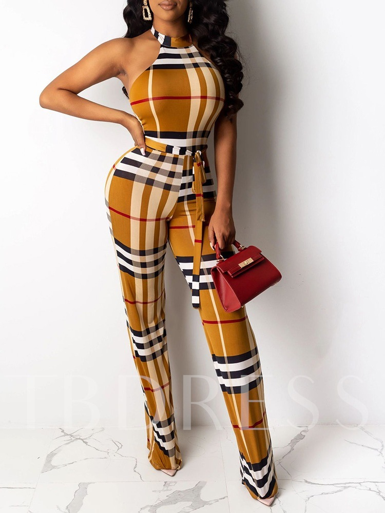 Plaid Sexy Full Length Skinny Women's Jumpsuit