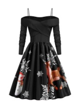Print Mid-Calf Long Sleeve A-Line Women's Dress