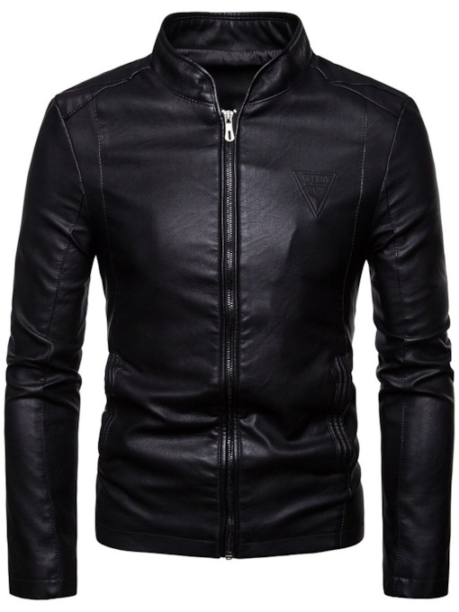 Plain Zipper Stand Collar Slim Men's Jacket
