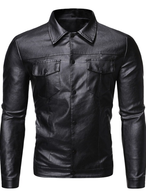 Plain Button Lapel Men's Jacket